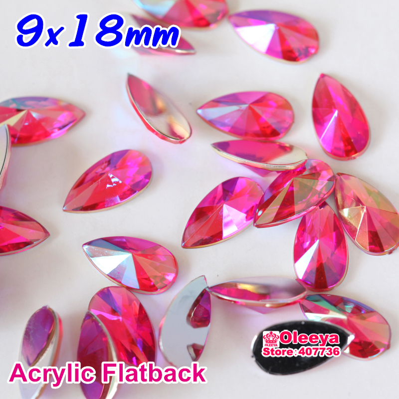 New Arrival 9x18mm 50pcs Teardop Flatback Pointed Acrylic Rhinestone Buttons Droplet Decorate DIY Y3545(China (Mainland))