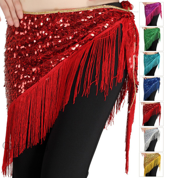 2013 New Womens Belly Dancing Belts Tassel Hip Towe Solid Sequin Waist Chain(China (Mainland))