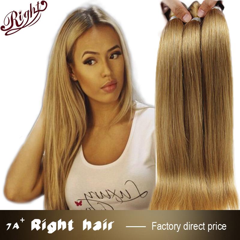 Honey Blonde Peruvian Straight Hair Extensions 4pcs Lot Strawberry Blonde Straight Peruvian Hair Bundles Color 27# Hair Weaves(China (Mainland))