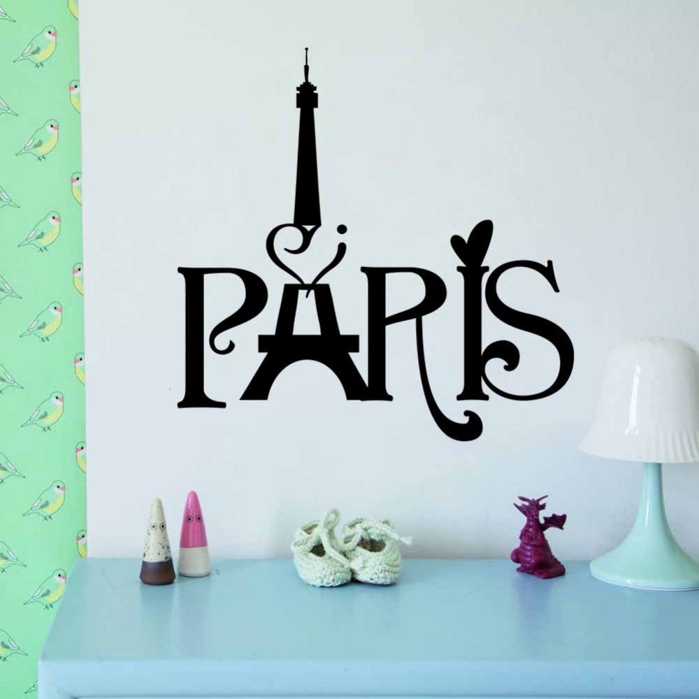 Free Shipping New Eiffel Tower PARIS living room bedroom background wall stickers Wholesale 3D waterproof removable DIY(China (Mainland))