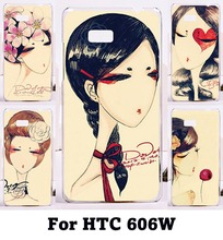 Unique Hard Plastic Cover For HTC Desire 600 606W Shell Retro Woman DIY Print Fashion Design Cell Phone Cases Anti-knock(China (Mainland))