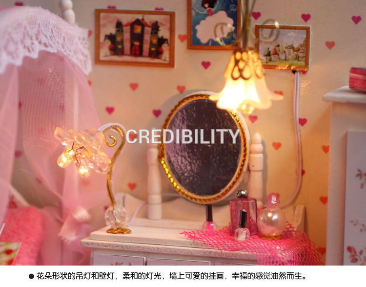 T004 Miniature lady's bed room absolutely furnished diy dollhouse led lights doll home wood