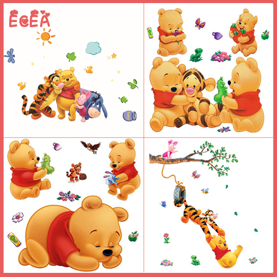 2015 Cartoon Baby Wall Decals Nursery Baby Room Decor Winnie The Pooh Removable Wall Stickers For Kids Rooms Vinyl wall decals(China (Mainland))