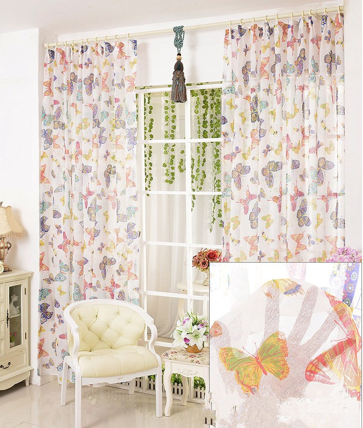 Flax Printing Butterfly modern tulle window curtain home textile luxury sheer curtains for living room the bedroom(China (Mainland))