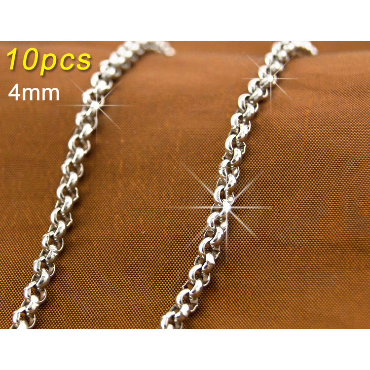 Wholesale 10pcs JEWELRY 4mm Link silver Chains 316L Stainless rustless Steel Necklace Diy fittings 4.0pearl(China (Mainland))