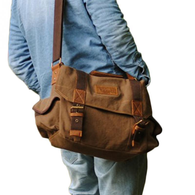 Coffee And Khaki 2 colors Men's Vintage Canvas Leather School Military Shoulder Bag Messenger Bag(China (Mainland))