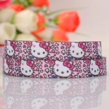 5yards 3/8 » 9 mm cute Kitty face leopard print grosgrain tape DIY handmade hairbow cartoon ribbon free shipping