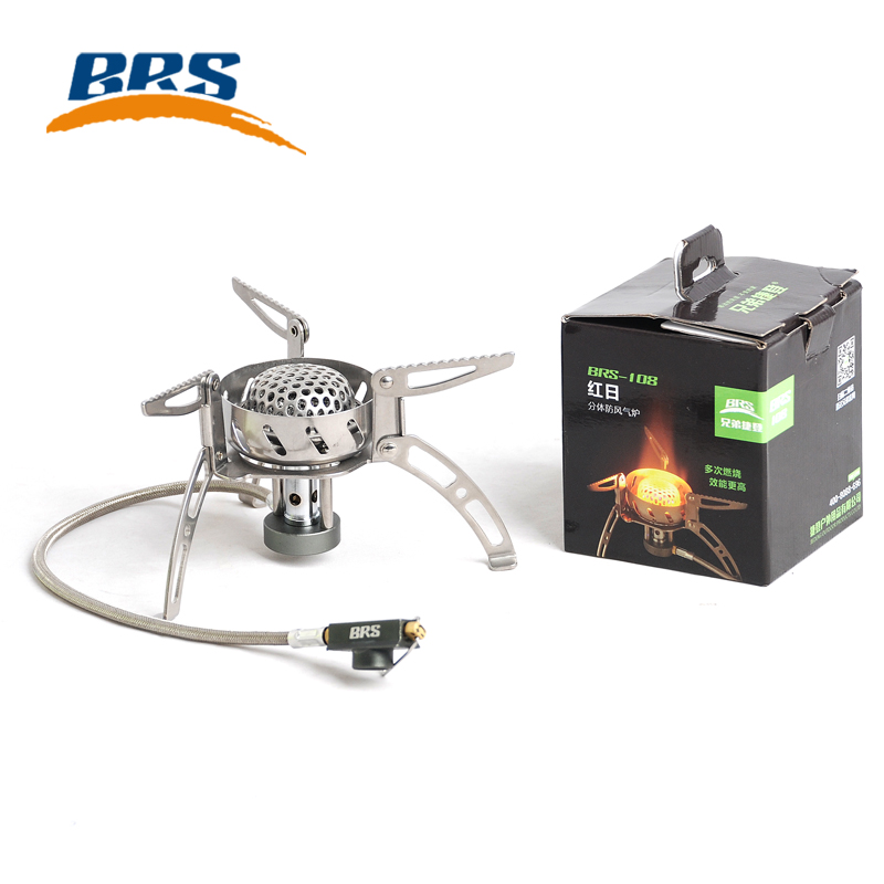 Фотография 2900W BRS-108 Poratble Super Windproof Outdoor Cooking BBQ Gas Stove Stainless Steel Split Butane Gas Burner Free Shipping