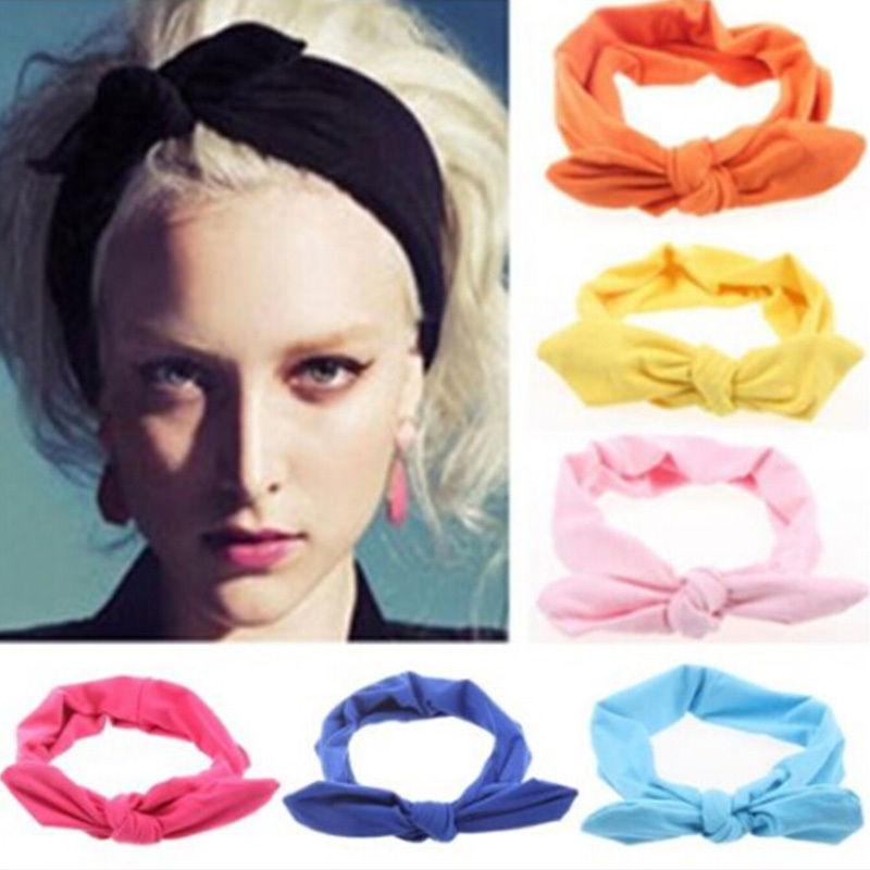 1 pc Women Fashion Elastic Stretch Plain Rabbit Bow Style Hair Band Headband Turban HairBand hair accessories(China (Mainland))