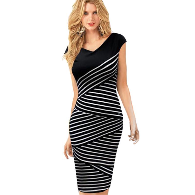 XS 4XL size Formal Oblique Fine Striped Women Bodycon Wiggle Sheath Pencil Tight Tunic Summer Vest Work Business Dress Y760 - jason song's store 901644