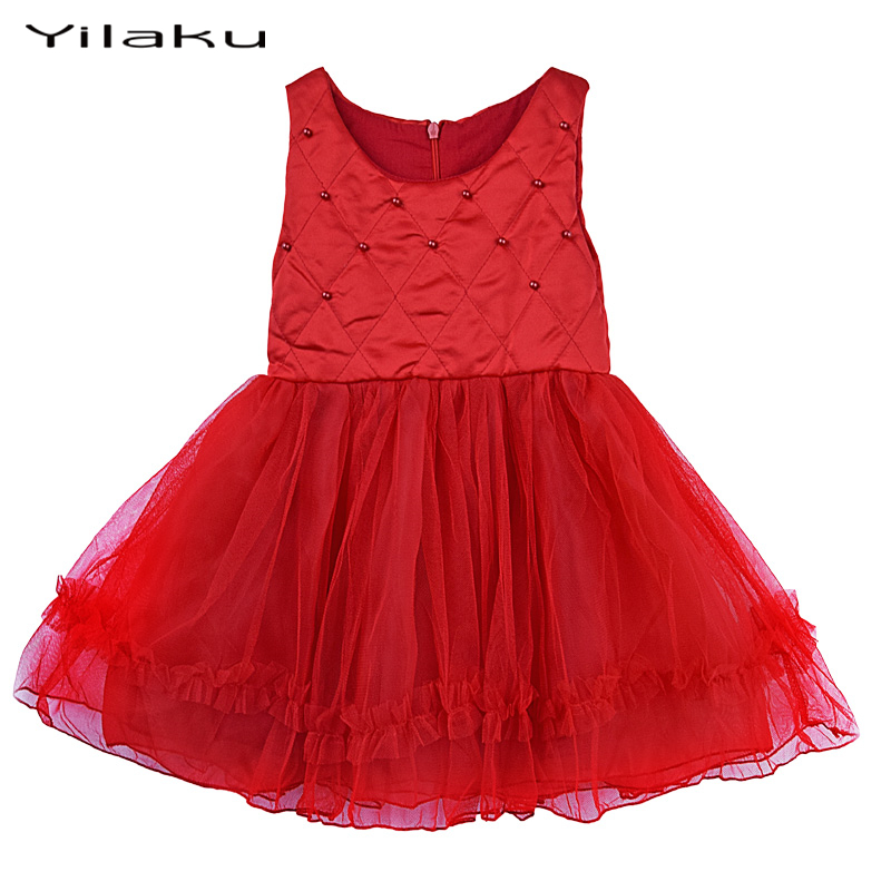 Autumn Girls Christmas Dress 2016 Infant Baby Girl Red Dress Kids Sleeveless Tulle Bow Dresses Children Clothing Vestidos CA246(China (Mainland))