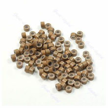 Lot of 100 pcs Silicone Micro Ring Feather Hair Extensions Crimp Beads khaki(China (Mainland))