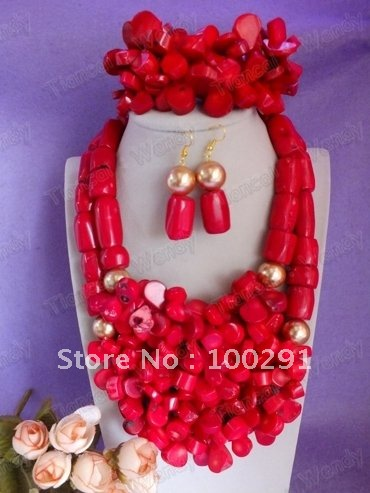 Free shipping! Amazing !!! Double Drum and Full Petal Bead Flower Fashion Coral Jewelry set(China (Mainland))