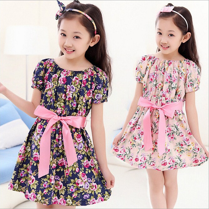 Summer 2015 New European and American Style Cotton girl dress,Sleeveless baby girls clothes Flowers girl dresses kids clothes(China (Mainland))