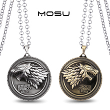 Game of Thrones House Stark Metal Necklace can dropshipping Charm Pendant Cosplay Accessories Jewelry Gift(China (Mainland))