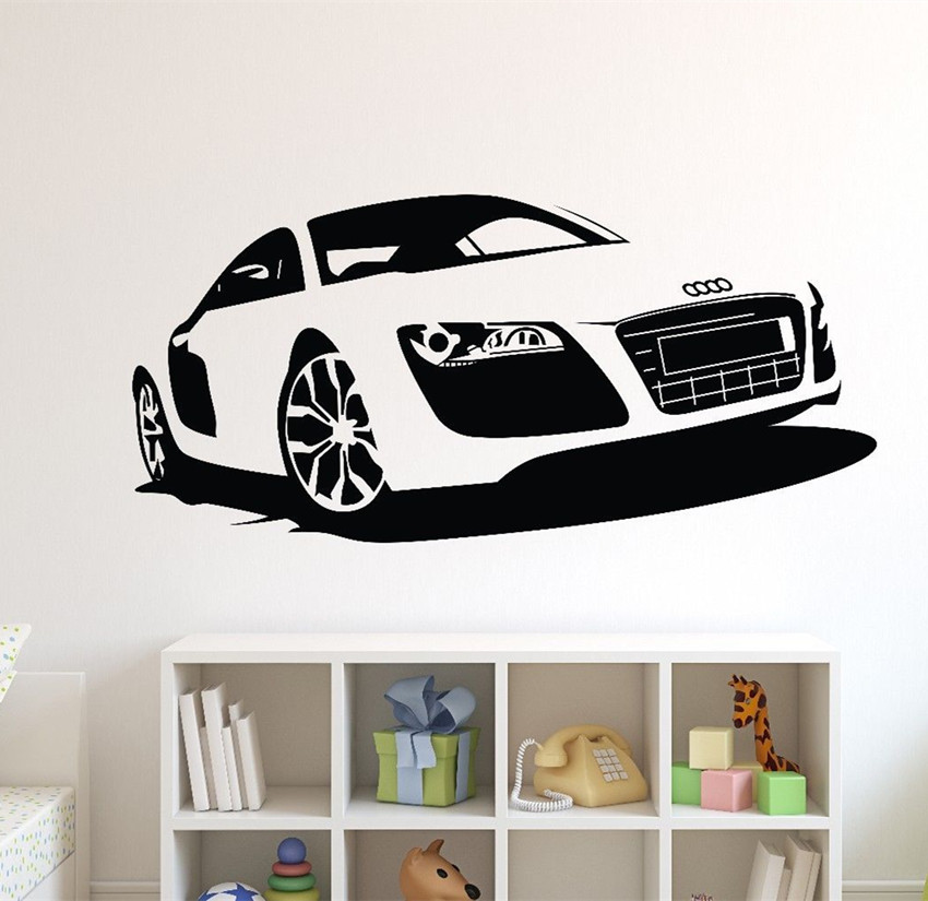 Eco-friendly Large Car Audi Sports Car Wall Decal Sticker DIY Home Decor Racing Car Wall Paper Vinyl Mural Decal Y-136(China (Mainland))