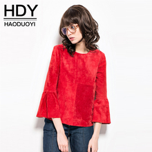 HDY Haoduoyi 2016 Autumn Fashion Women Three Quarter Flare Sleeve Patchwork Tops Brief Artist Brand Designed T-shirts(China (Mainland))