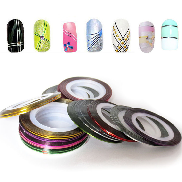 10pcs 2015 New Mixed Color DIY Nails Tips Nail Rolls Striping Line Tape Nail Art Decoration