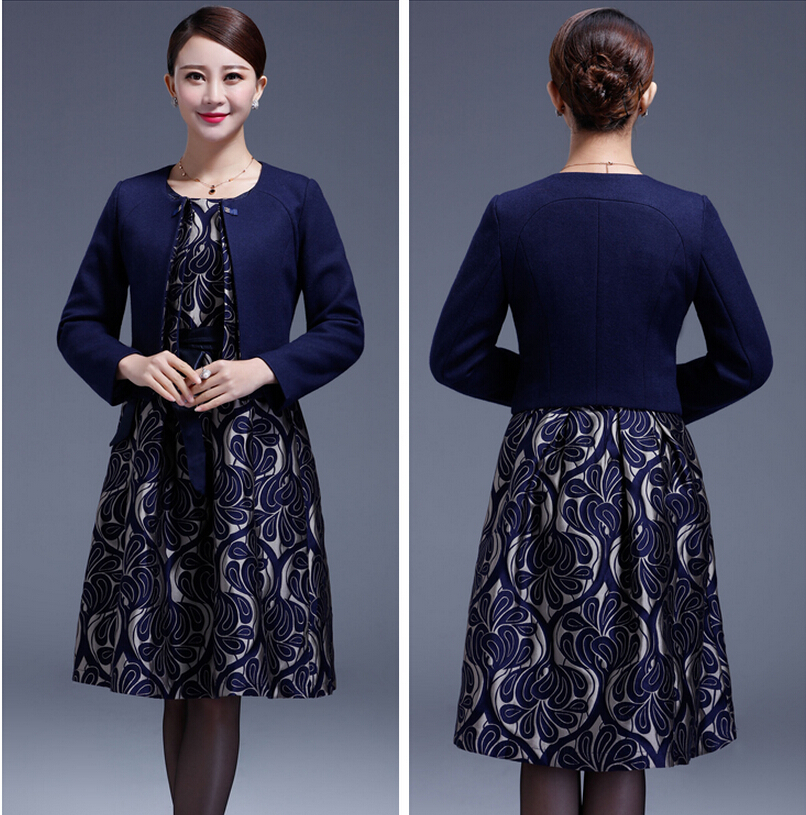 2015 New High Quality Dress Suits Plus Size For Middle Aged Female Long Sleeve for Autumn L-4XL