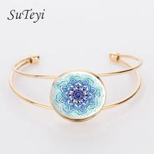 Buy SUTEYI 2017 Cuff Bracelet Ornaments Mandala Henna Buddhism Convex Glass Yoga Bracelets Summer Jewelry Gifts for $1.31 in AliExpress store