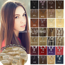 Women's Clip in Hair Extensions 100% Real Natural Hair Stright 15inches 38cm 7pieces/set 70gram 28Colors Available Drop Shipping(China (Mainland))