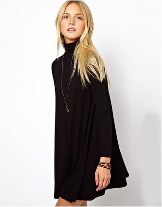 Платья прямой воротник-хомут свободного покроя длинный рукав, осень черный сплошной цвет воротник женщины качающиеся милый