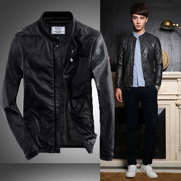 2015 Autumn Winter style leather jacket mens leather Slim Coat Motorcycle fashion top quality jackets men PU baseball plus size(China (Mainland))