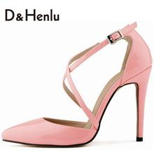 {D&H}2016 Newest Pink Pumps Sexy Cross Straps Pumps Beautiful Thin Heels Pointed Toe Dresses Shoes Brand Shoes Woman Plus Size12(China (Mainland))