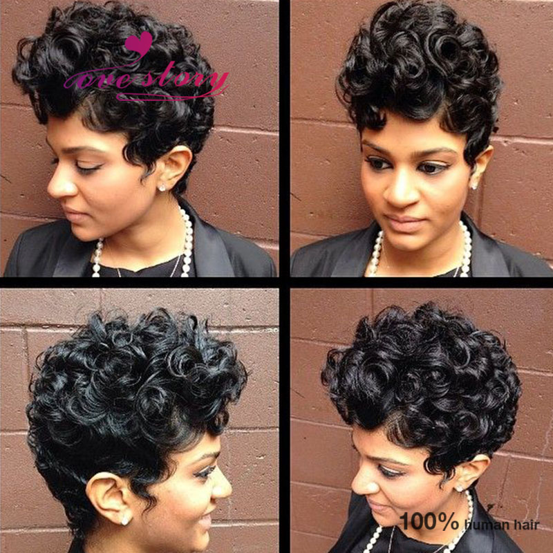 130 Density short haircuts curly lace front wigs 7a