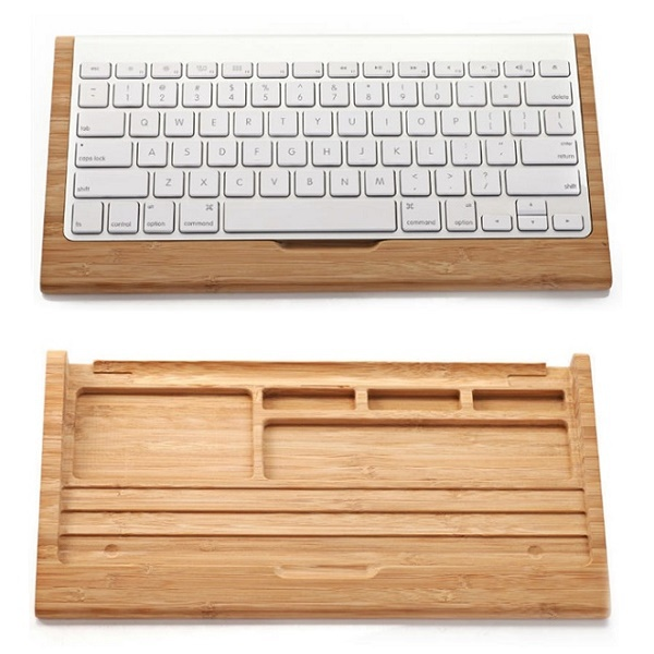 Original Samdi Wooden Bamboo Stand For Apple iMac PC Computer Bluetooth Keyboard Creative Wood Holder Stand + Keyboard Cover(China (Mainland))
