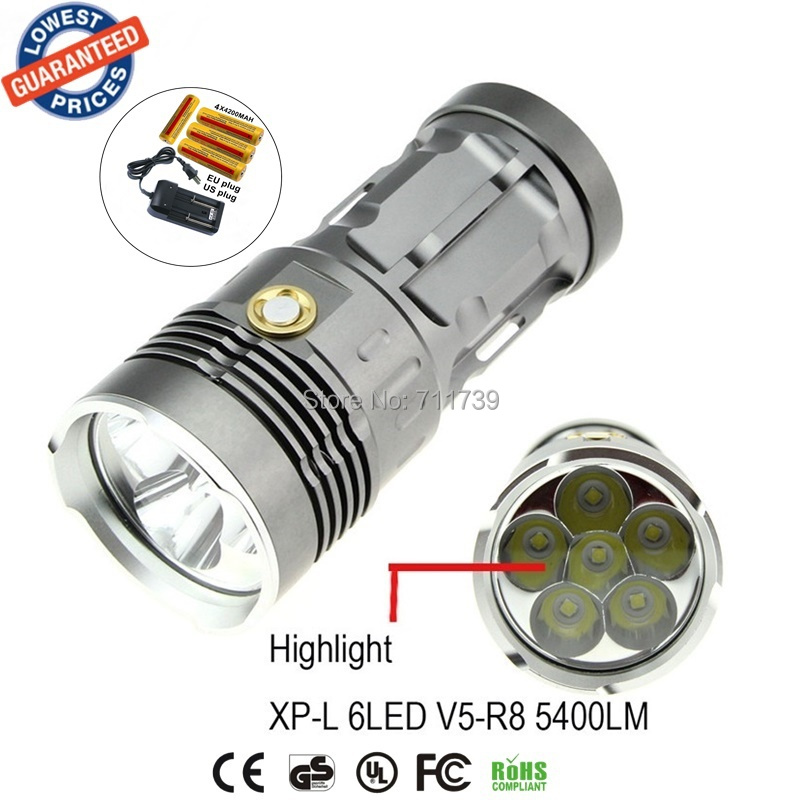 1set AloneFire super bright XP-L V5R8-6 5400LM camping led flashlight torch light with 18650 rechargeable battery+charger<br><br>Aliexpress