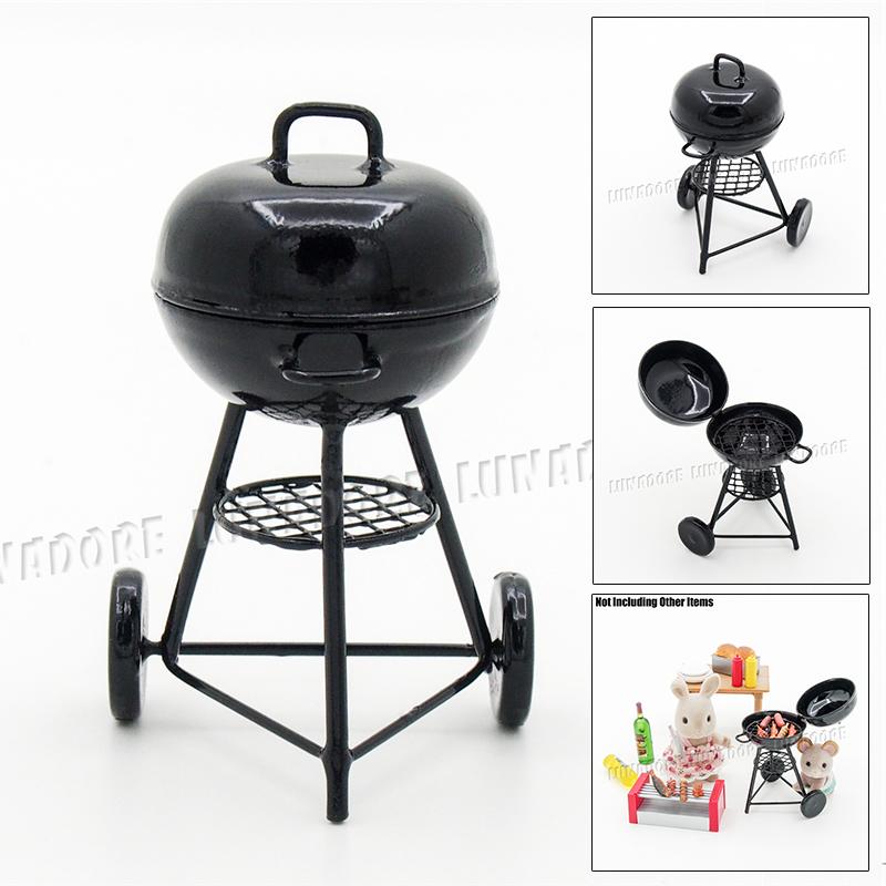 Kitchen Garden Model: Odoria 1:12 Miniature Iron BBQ Grill Kitchenware For