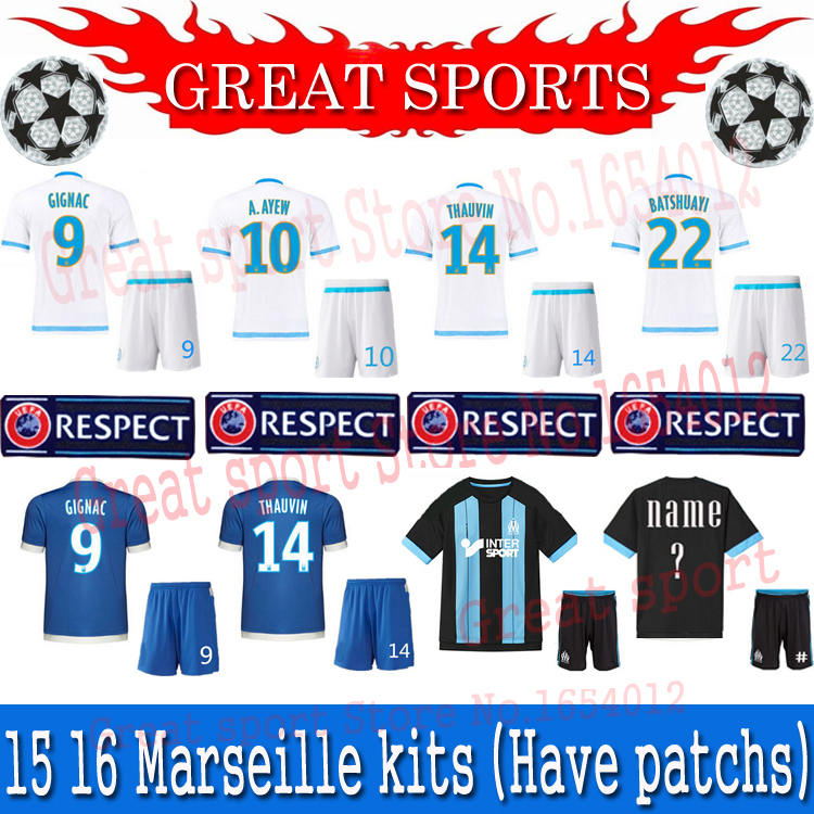 2015 olympique de marseille training soccer 2016 marseille soccer jersey kits home white away blue black football uniforms sets(China (Mainland))