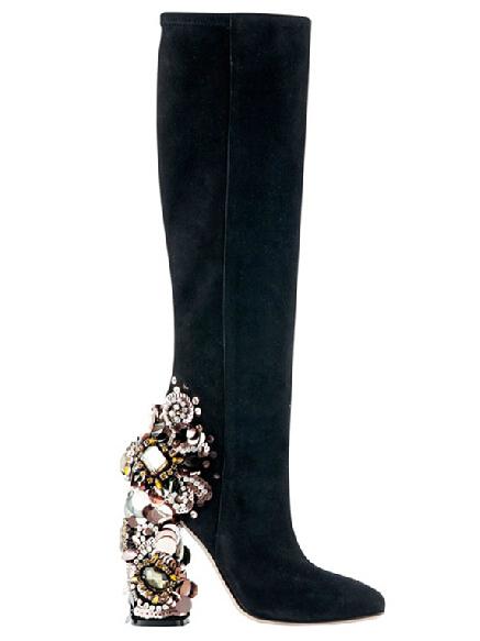luxury design chaussure glitter heels knee high boots