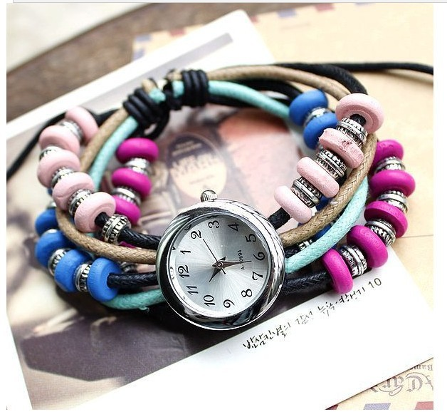 Free shipping Bohemian styel watch  handmake color beads can shrink  watch restore ancient ways watch fashion watch