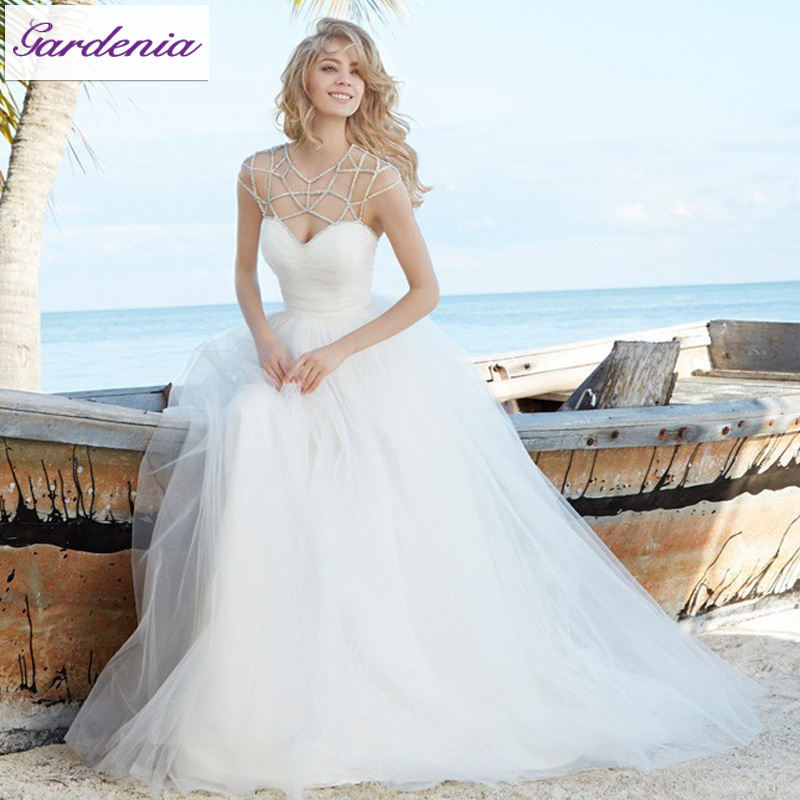 Unique neckline design 2015 new wedding dress a line for Crystal design wedding dresses price