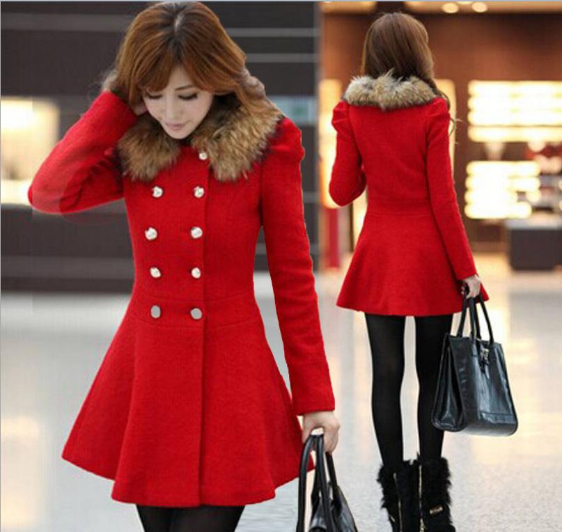 Women Winter Warm Woolen Coat Slim Fur Collar Long Coat Jacket Trench Overcoat Female Double Breasted Outwear