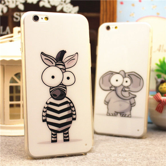 Luxury 0.3mm Ultra Thin Slim TPU Clear Transparent Soft Cover Case Skin Cartoon zebra Elephant for iPhone 6 Plus 4.7 5.5 5s 5(China (Mainland))