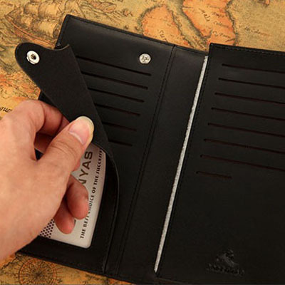 Fashion Solid long standard designer wallet men PU material brand wallets men interiorslot pocket purse card