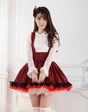 Free Shipping Summer Mini Tank Skirt High Waist Sleeveless Female Short Plaid Lolita Skirt Suspender