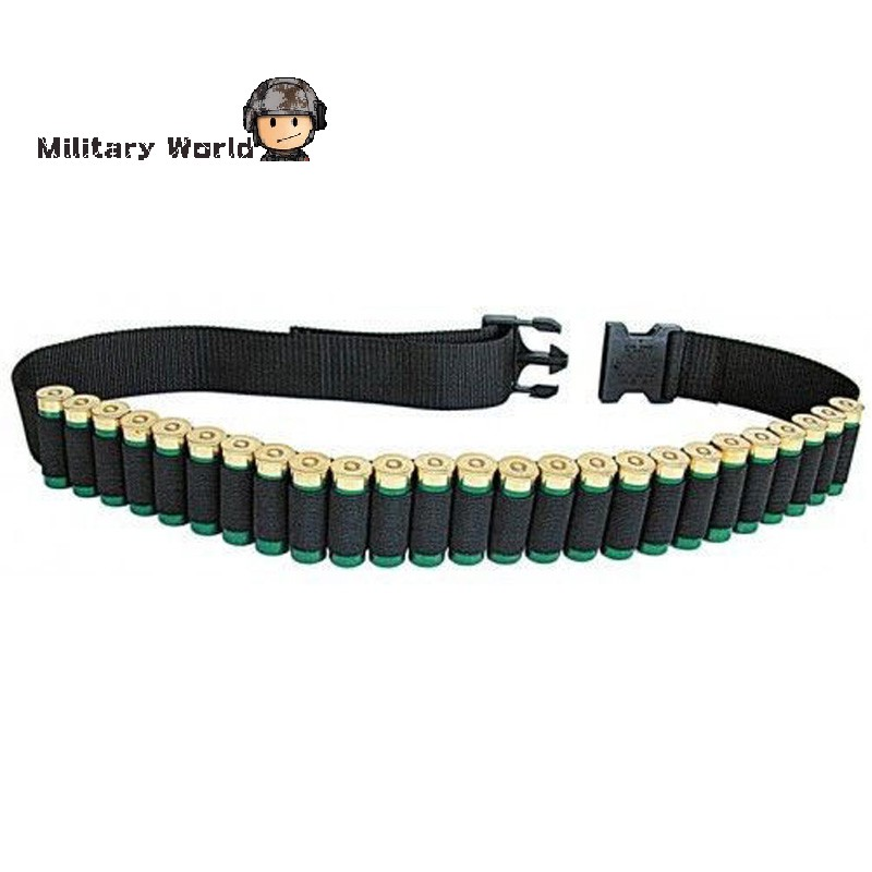 140CM 12 GA Military Tactical Airsoft Marine Nylon Duty Pant Molle Shotgun Belt 25 Rounds Bullet Ammo Pouch for Hunting Sport(China (Mainland))