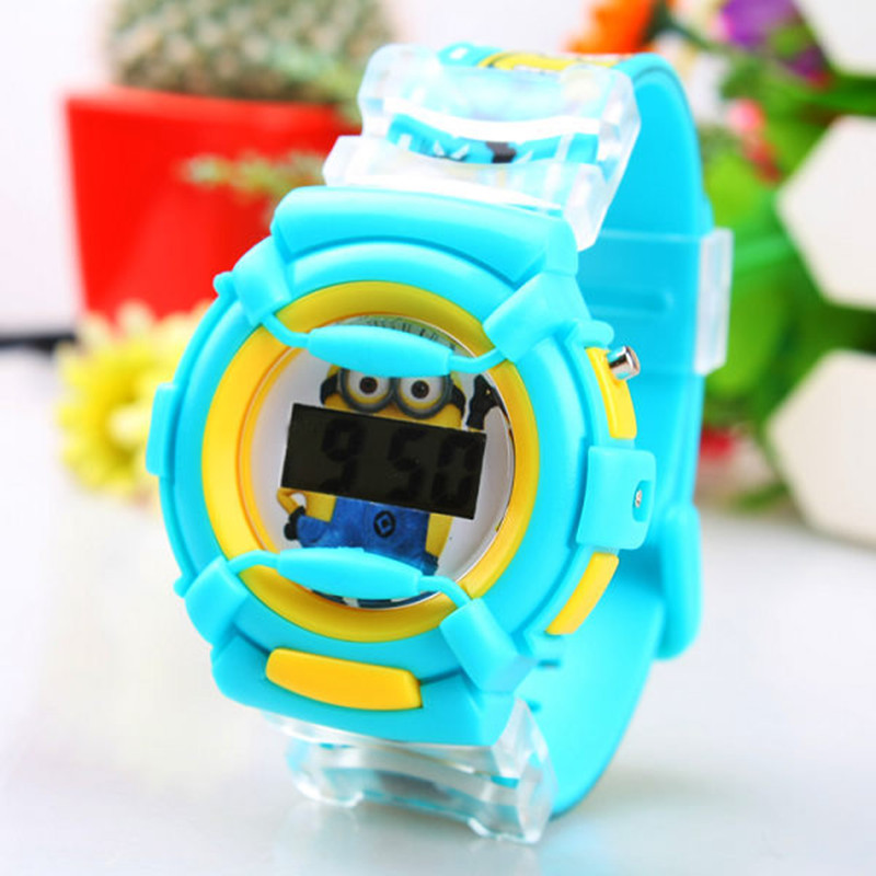 Blueness 3d eye despicable me minion cartoon watch kids silicone watches for girls hello kitty for Despicable watches