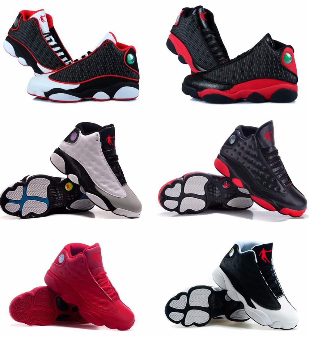 Free shipping 2015 top quality cheap china jordan 13 retro men white black basketball shoes ,original sneakers size 8 - 13(China (Mainland))