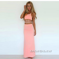 2015 Hot Sexy Summer Women Strap Backless Vest Crop Top Skirt Long Maxi Sexy 2 Piece Set  Cocktail Party Free Shipping 1714