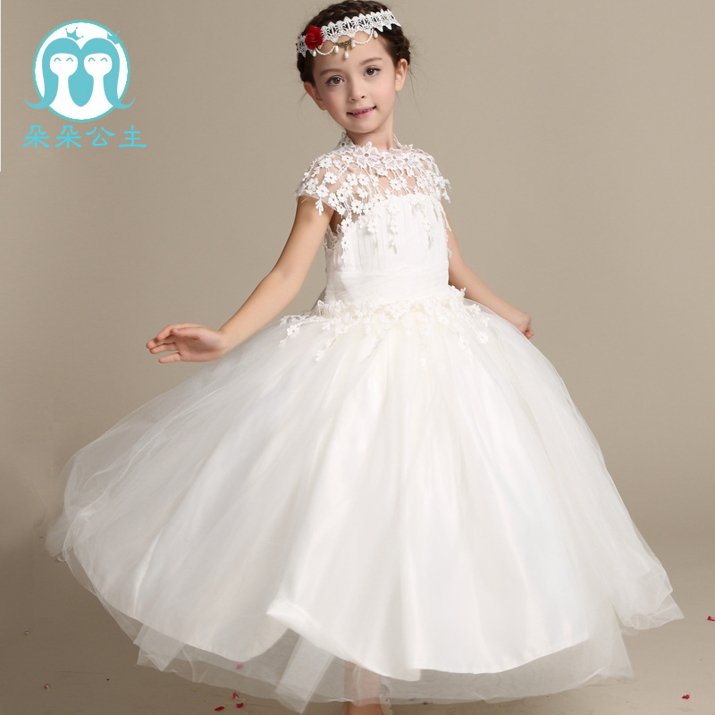 Elsa Dress Vestidos Direct Selling Mid-calf Cotton Chinese Style 2016 New Children's Palace Flower Lace Tutu Princess Children(China (Mainland))