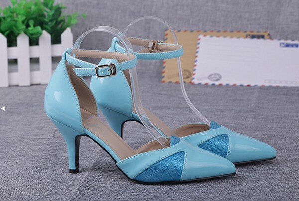 Pointed Toe Ankle Buckle High Heels Ladies Golden Shoes New 2016 Patchwork Patent PU Leather Ladies Sexy Pumps Free Shipping