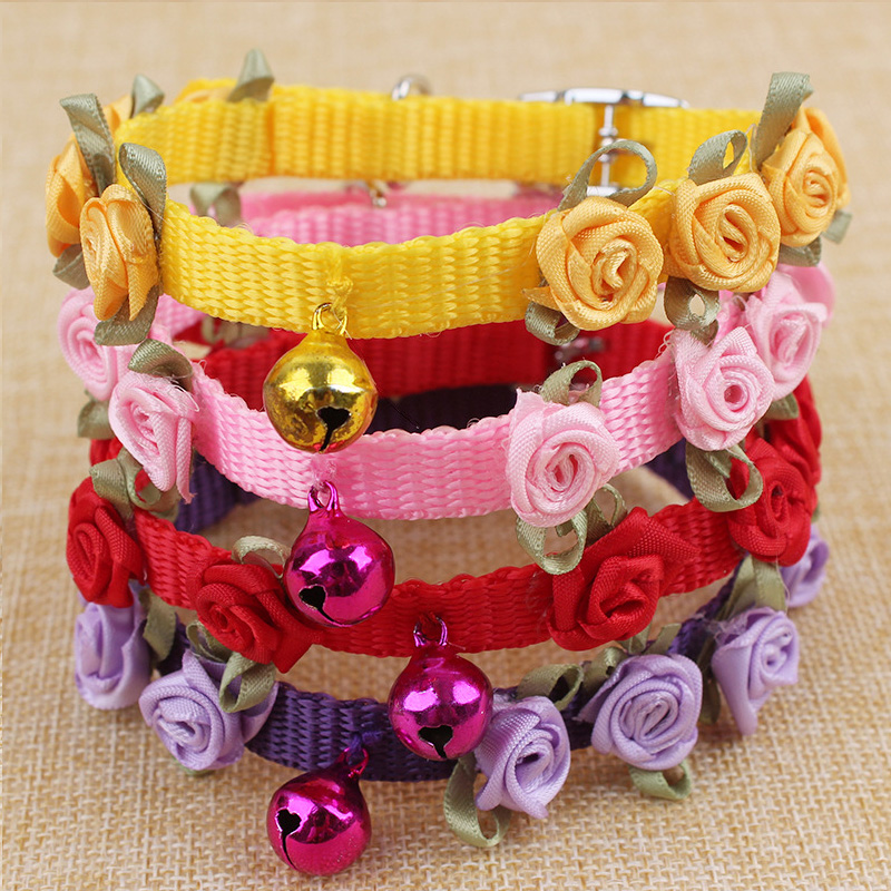 Fashion Nylon Rose Flowers Pet Dog Collars With Bell Adjustable Buckle Pet Puppy Cat Collar Supplies 0242(China (Mainland))
