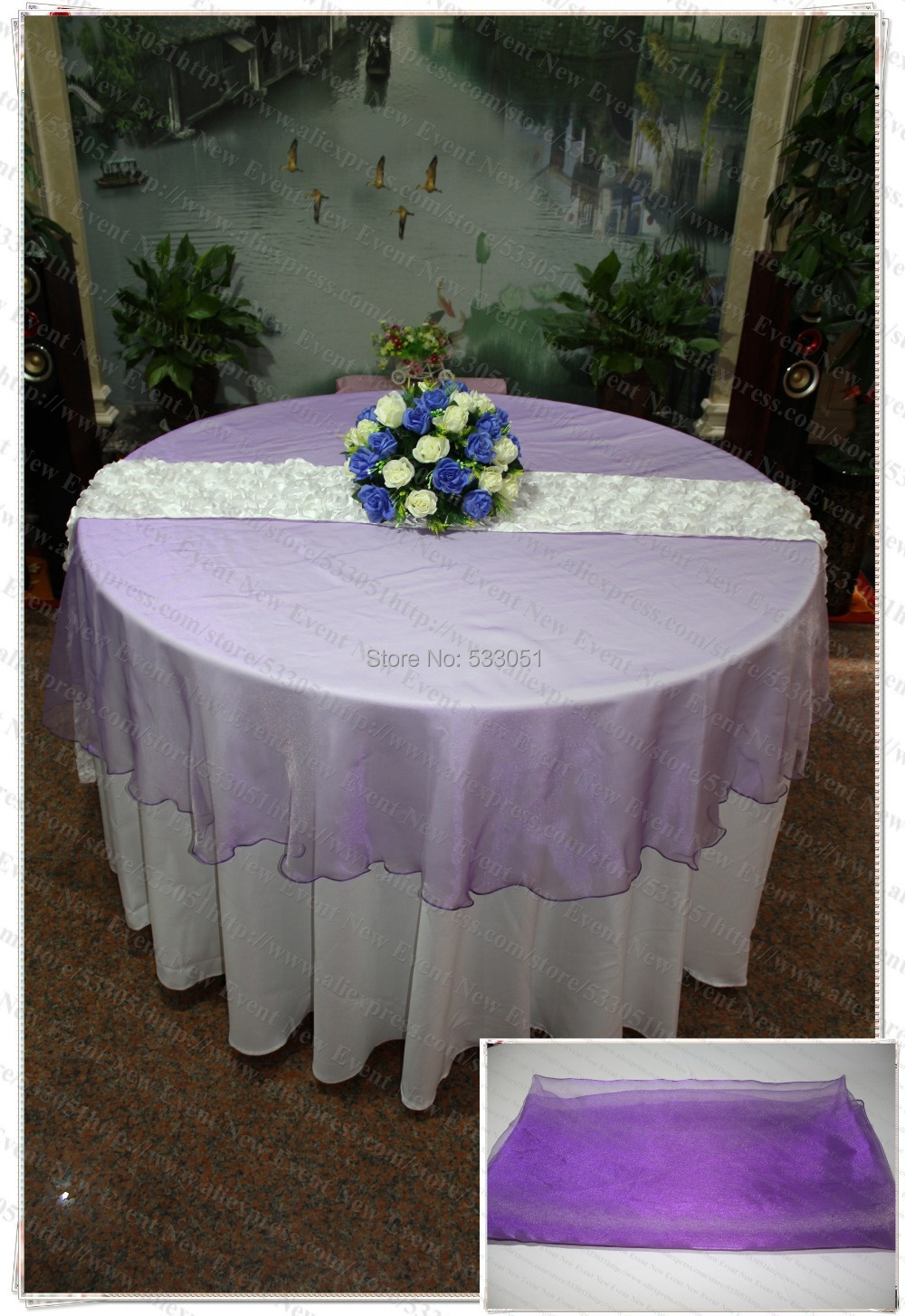 210cm Round NO.71 Pinky Purple Organza Table Overlay/Table Cover/Tablecloth  For
