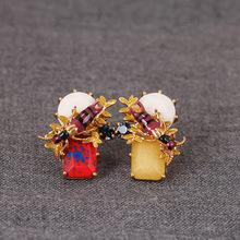 2016 Pendientes Brincos New Design Luxury Brand Cloisonne Enamel Earrings For Women(China (Mainland))