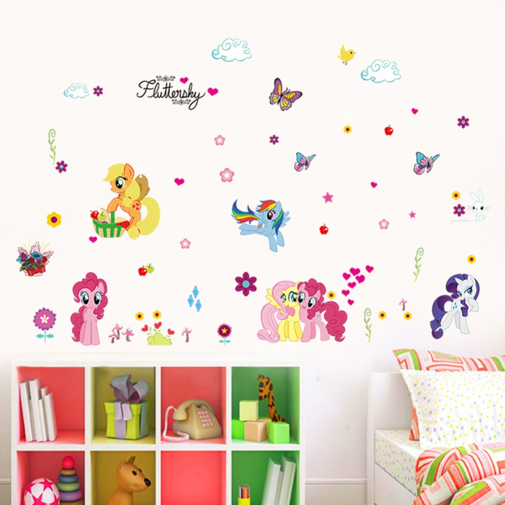 % 3D cartoon My Little Pony Butterfly flowers home decal wall sticker children room living room baby beautiful Art poster mural(China (Mainland))